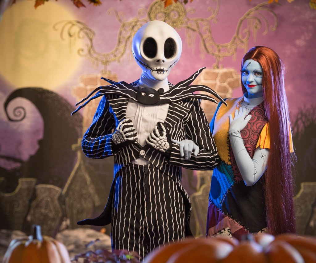 "Jack Skellington and Sally, from Tim Burton's ""The Nightmare Before Christmas,"" bring their unique Halloween celebration to Magic Kingdom during Mickey's Not-So-Scary Halloween Party. Guests can meet the Pumpkin King of Halloween Town and his love during the party for a little ""spook-tacular"" fun in Town Square on Main Street, U.S.A. Mickey's Not-So-Scary Halloween Party takes place on select nights through Oct. 31, 2014 at Walt Disney World Resort in Lake Buena Vista, Fla. (Kent Phillips, photographer)"